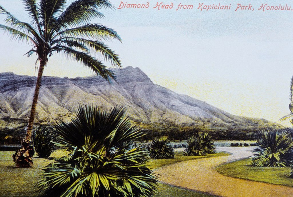 c 1910, postcard art, Hawaii, Oahu, Waikiki, Diamond Head from Kapiolani Park garden lagoon : Stock Photo