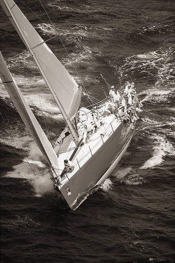Kenwood Cup Race, Sailboat on ocean Sepia photograph : Stock Photo