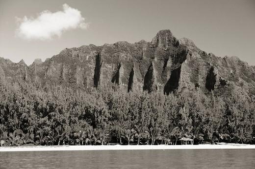 Hawaii, Oahu, Kualoa Mountains, View from ocean Sepia photograph : Stock Photo