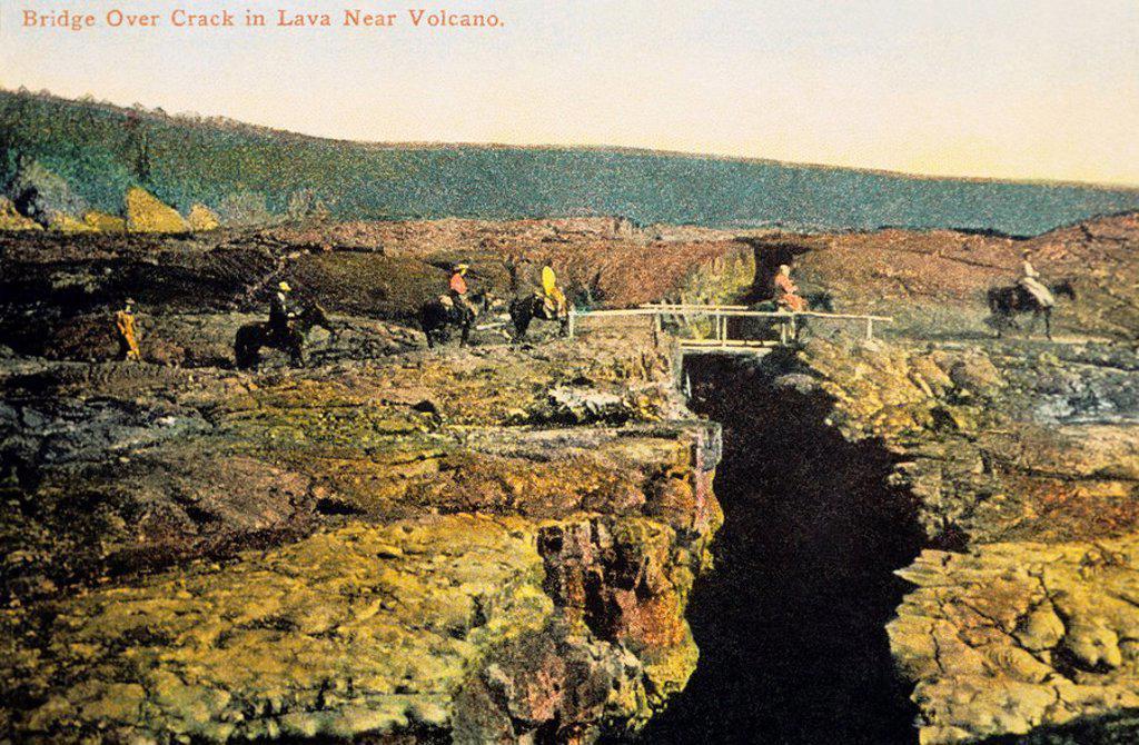 Stock Photo: 1760-7349 c 1905 Hawaii postcard, Big Island, Kilauea, Bridge over crevice near volcano