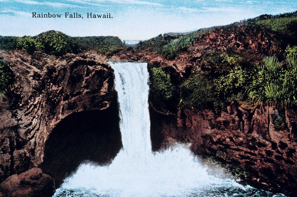 c 1900 Hawaii, Big Island, Rainbow Falls : Stock Photo