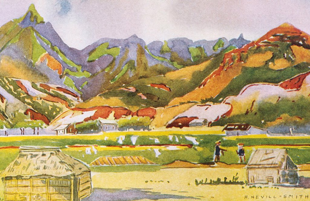c 1931 H Neville-Smith art, Hawaii, Kauai, Moloaa, Colorful painting of grass huts : Stock Photo
