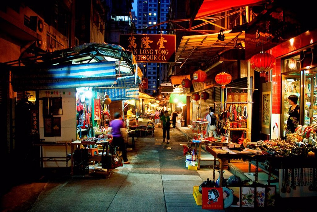 Stock Photo: 1760-8530 Hong Kong, Sheung Wan, Night view of the shoppers at the Cat Street Market located on Upper Lascar Row.