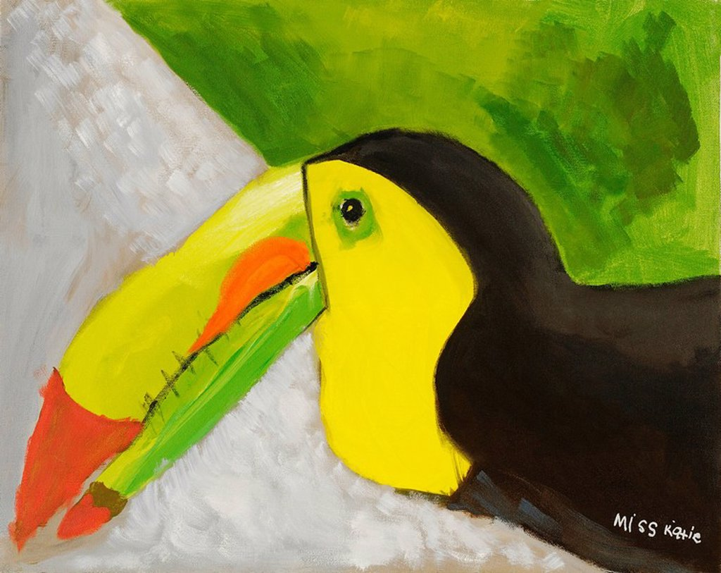 Stock Photo: 1760-8759 Toucan, Profile of colorful toucan bird Oil Painting.