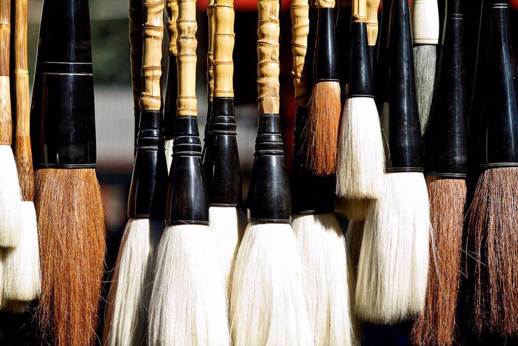 China, Beijing, Horsehair calligraphy brushes. : Stock Photo