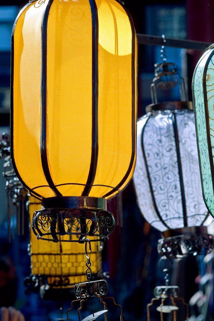 China, Beijing, Decorative lanters. : Stock Photo