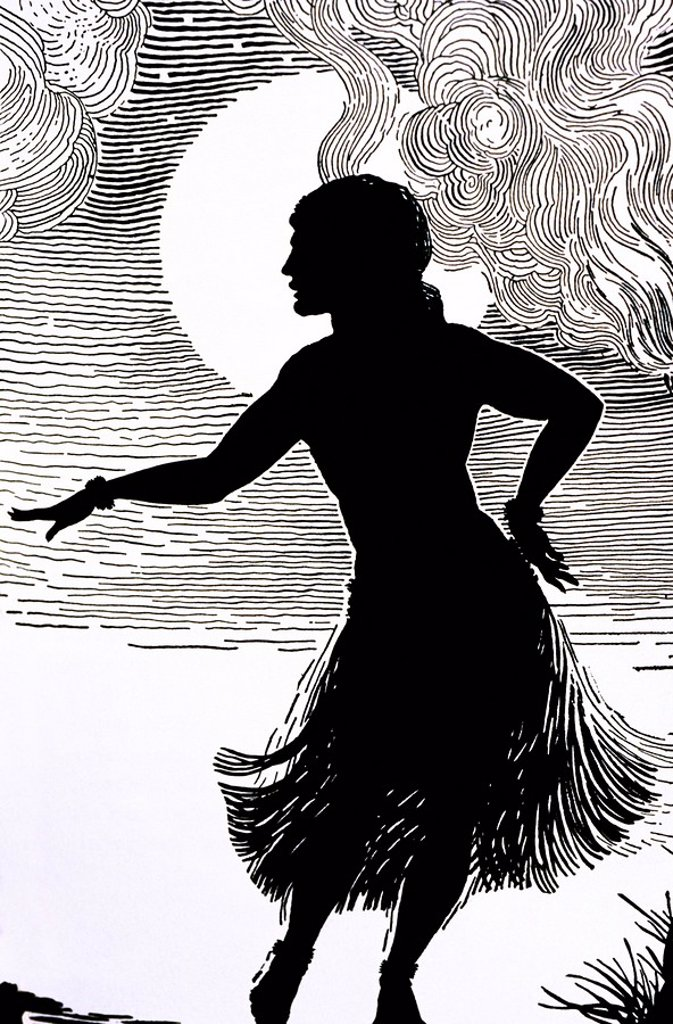C. 1930, Don Blanding art, Hula Girl, Moonlight in background Pen and Ink Drawing. : Stock Photo