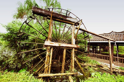 Stock Photo: 1768R-11416 Watermill in a field, Yangshuo, Guangxi Province, China