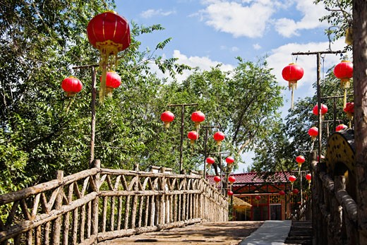 Stock Photo: 1768R-13289 Low angle view of Chinese lanterns hanging on both sides of a footbridge, HohHot, Inner Mongolia, China