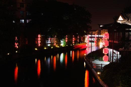 Reflection of Chinese lanterns in water, Nanjing, Jiangsu Province, China : Stock Photo