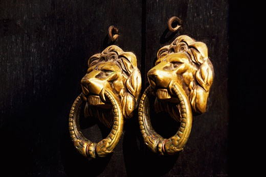 Close-up of two door knockers, Tunxi Old Street, Tunxi District, Anhui Province, China : Stock Photo