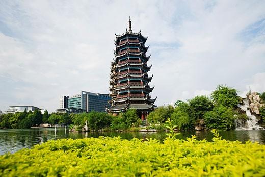 Stock Photo: 1768R-13475 Pagoda at lakeside, Banyan Lake, Guilin, Guangxi Province, China