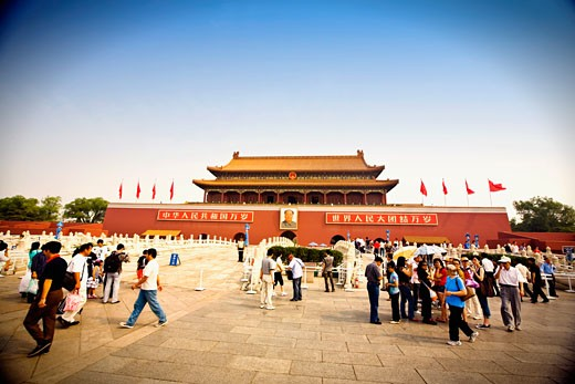 Stock Photo: 1768R-13526 Tourists in front of a building, Tiananmen Gate Of Heavenly Peace, Forbidden City, Beijing, China