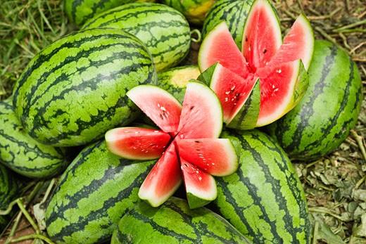 Close-up of watermelons, Zhigou, Shandong Province, China : Stock Photo