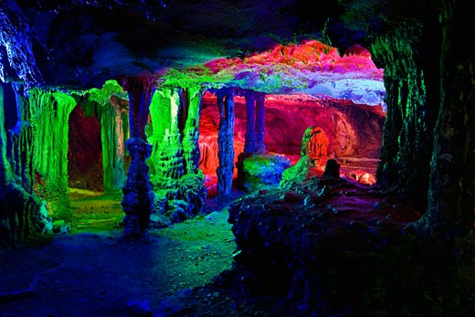 Rock formations in a cave, Lotus cave, XingPing, Yangshuo, Guangxi Province, China : Stock Photo