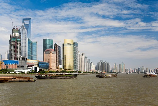 Skyscrapers in a city, Lujiazui, The Bund, Shanghai, China : Stock Photo