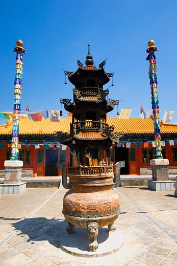 Stock Photo: 1768R-13787 Sculpture in front of a temple, Da Zhao Temple, Hohhot, Inner Mongolia, China
