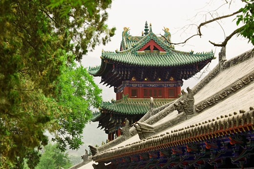 High section view of a temple, Shaolin Monastery, Henan Province, China : Stock Photo