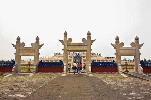 Stock Photo: 1768R-13906 Doorways of a temple, Temple Of Heaven, Beijing, China