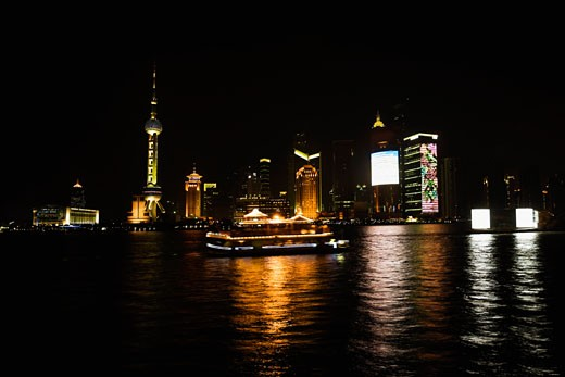 Stock Photo: 1768R-14014 Buildings at the waterfront, Oriental Pearl Tower, Huangpu River, Lujiazui, The Bund, Shanghai, China