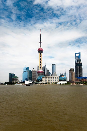 Stock Photo: 1768R-14031 Buildings at the waterfront, Oriental Pearl Tower, Lujiazui, Huangpu River, The Bund, Shanghai, China
