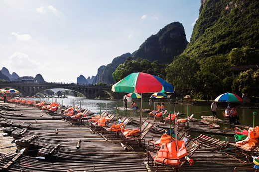 Stock Photo: 1768R-14156 Tourist resort in a river, Guilin Hills, XingPing, Yangshuo, Guangxi Province, China