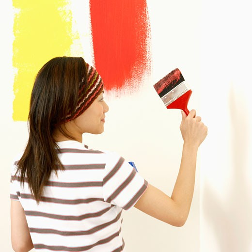 Stock Photo: 1768R-6849 Rear view of a young woman painting the wall with a paintbrush