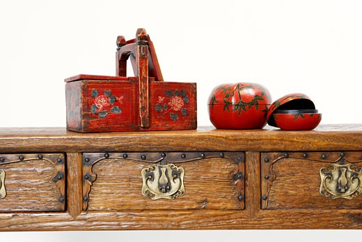Stock Photo: 1768R-7174 Close-up of assorted boxes on a desk