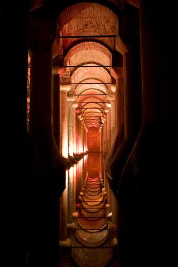 Stock Photo: 1771-150 Interiors of a cistern, Basilica Cistern, Istanbul, Turkey