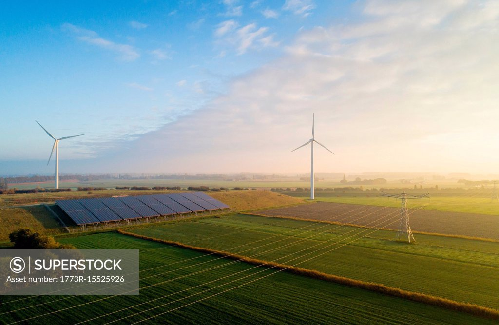 Stock Photo: 1773R-15525926 Field landscape with wind turbines and solar farm located on former waste dump, elevated view, Netherlands