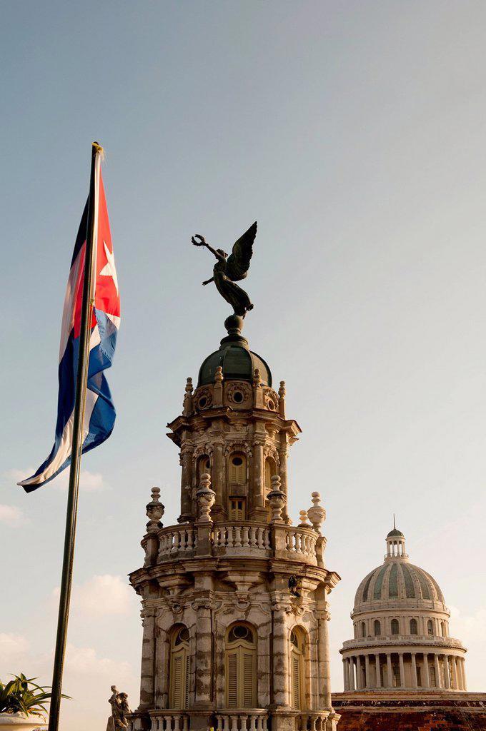 Flag outside ornate building : Stock Photo