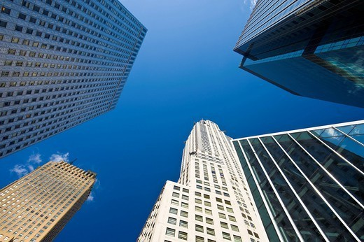 Low angle view of urban skyscrapers : Stock Photo