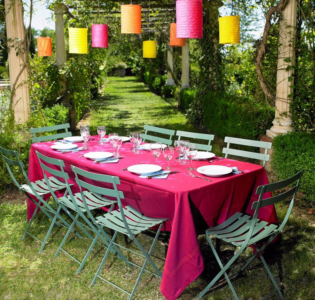 Stock Photo: 1773-20143 Table set in the garden