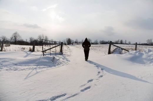 Woman Walking Across Snowy Fields : Stock Photo
