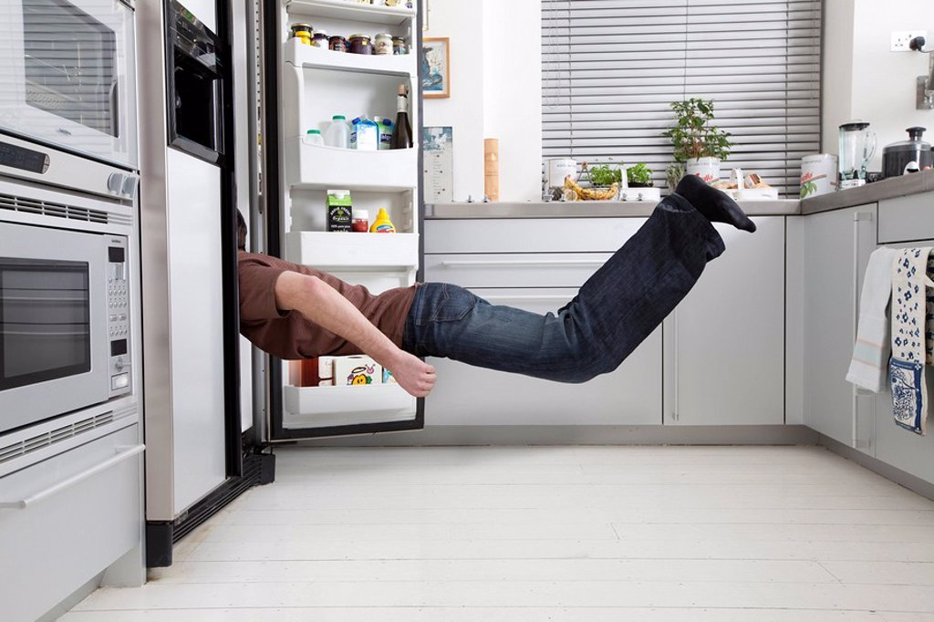 Stock Photo: 1773-25363 man looking in fridge