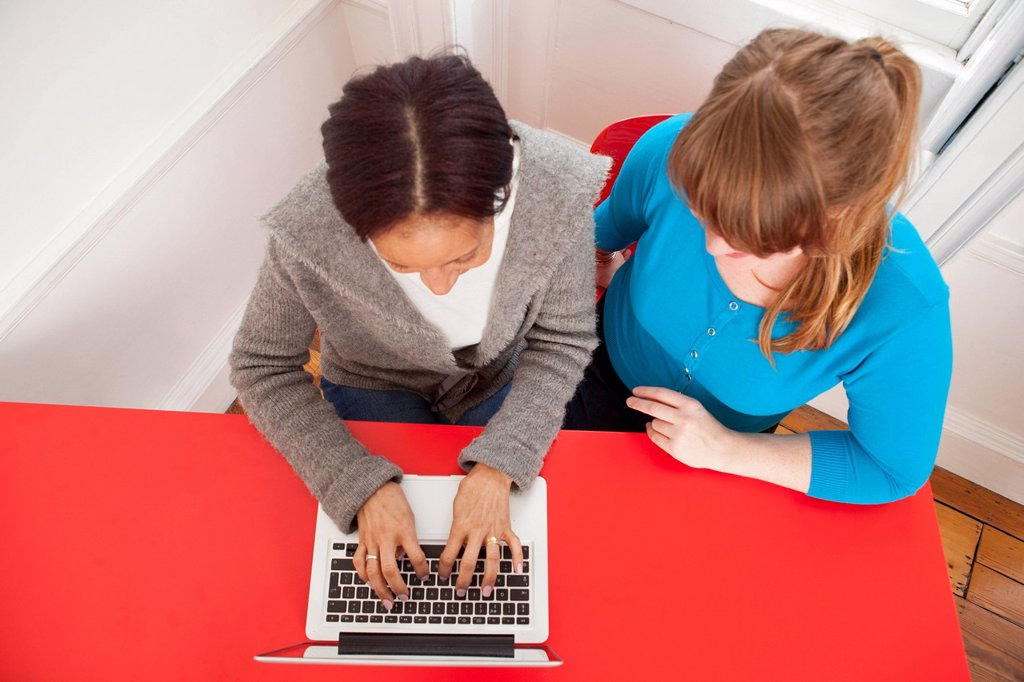 Businesswomen working on laptop : Stock Photo