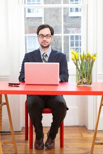 Businessman working on laptop at desk : Stock Photo