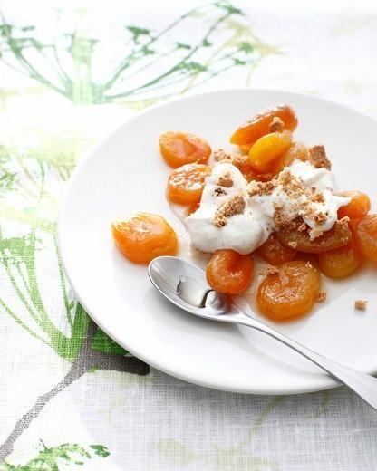 Plate of apricot amaretto : Stock Photo