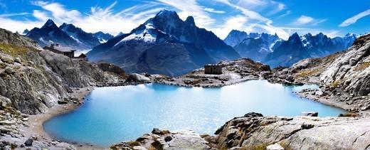 Aerial view of mountain lake : Stock Photo