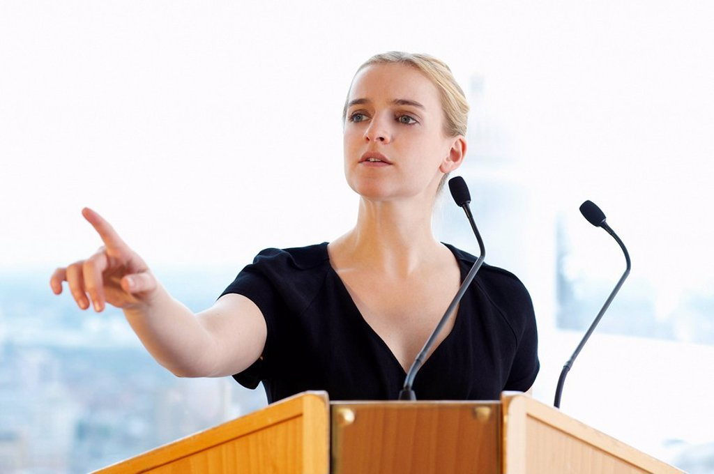 Stock Photo: 1773-55188 Woman talking during a conference