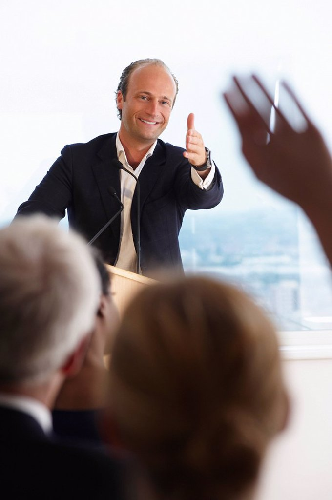 Man answering questions : Stock Photo