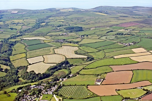 English agricultural fields Aerial view : Stock Photo