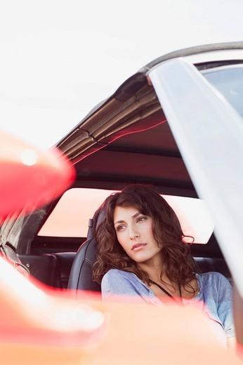 woman sitting in car : Stock Photo