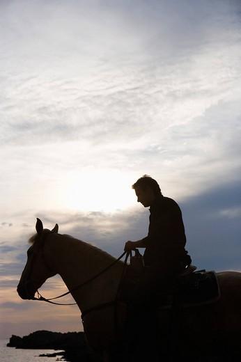 man riding horse : Stock Photo
