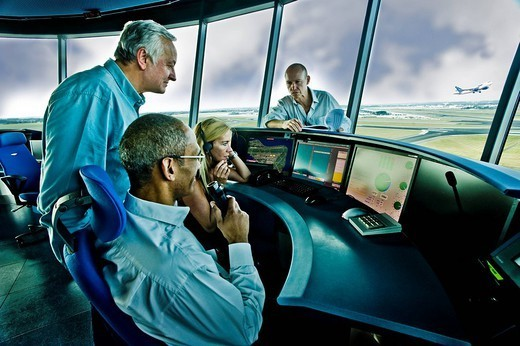 The most recent generation Airport control tower Pointsman Sky Air Traffic : Stock Photo