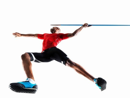 Male Athlete preparing to throw javelin : Stock Photo