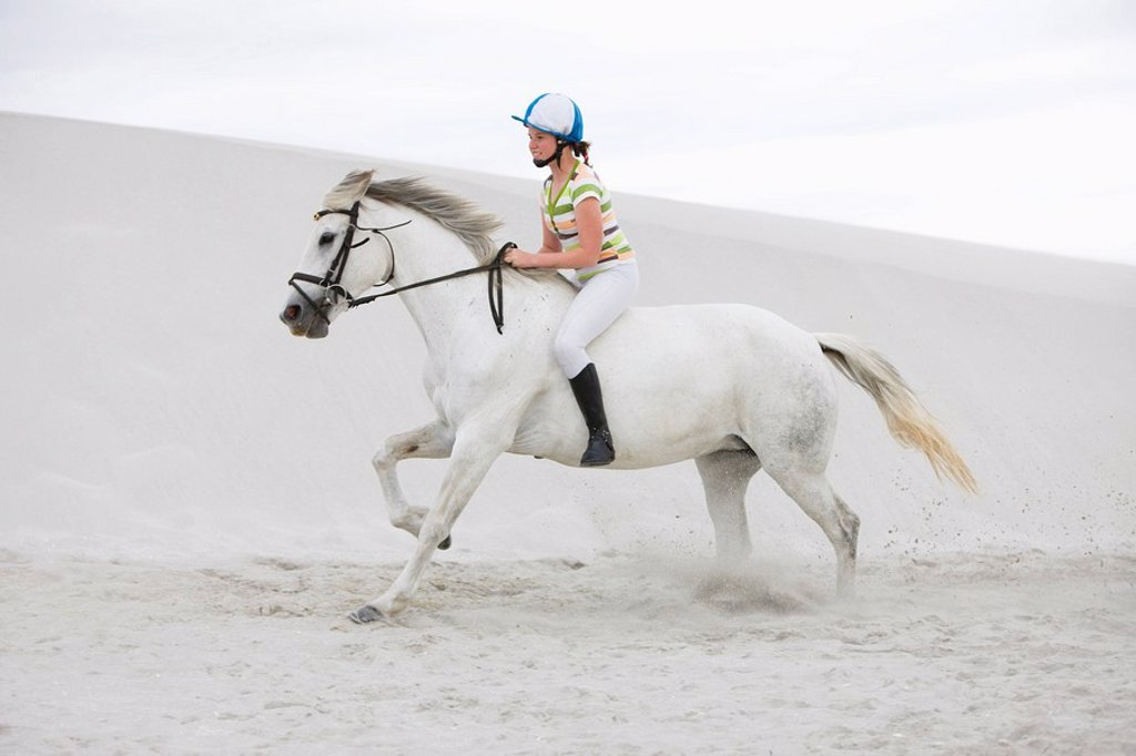 White horse, young girl, beach, sand : Stock Photo