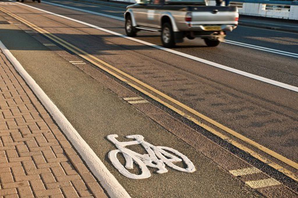 Bicycle lane on urban street : Stock Photo