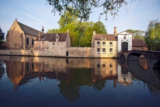 Houses built on village canal : Stock Photo