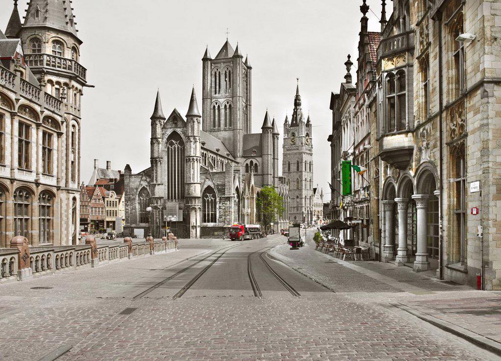 Stock Photo: 1773-58218 Ornate stone buildings on urban street